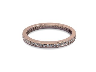 Full-Set Diamond Wedding Ring in 18ct. Rose Gold: 2.0mm. wide with Round Milgrain-set Diamonds-W88-04349.20