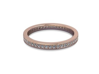 Full-Set Diamond Wedding Ring in 18ct. Rose Gold: 2.2mm. wide with Round Milgrain-set Diamonds-W88-04349.22