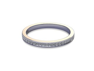 Half-Set Diamond Wedding Ring in 18ct. White Gold: 2.0mm. wide with Round Milgrain-set Diamonds-W88-05007.20