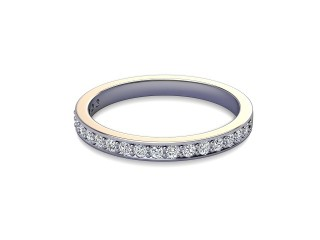 Half-Set Diamond Wedding Ring in 18ct. White Gold: 2.2mm. wide with Round Milgrain-set Diamonds-W88-05007.22