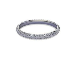 Full-Set Diamond Wedding Ring in 18ct. White Gold: 2.2mm. wide with Round Milgrain-set Diamonds-W88-05042.22