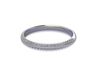 Half-Set Diamond Wedding Ring in 18ct. White Gold: 2.2mm. wide with Round Milgrain-set Diamonds-W88-05043.22