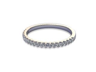 Half-Set Diamond Wedding Ring in 18ct. White Gold: 1.7mm. wide with Round Shared Claw Set Diamonds-W88-05215.17