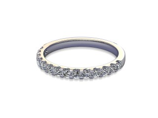 Half-Set Diamond Wedding Ring in 18ct. White Gold: 2.1mm. wide with Round Shared Claw Set Diamonds-W88-05215.21