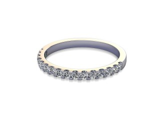 Half-Set Diamond Wedding Ring in 18ct. White Gold: 1.9mm. wide with Round Shared Claw Set Diamonds-W88-05216.19