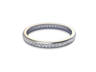Full-Set Diamond Wedding Ring in 18ct. White Gold: 2.2mm. wide with Round Channel-set Diamonds-W88-05308.22
