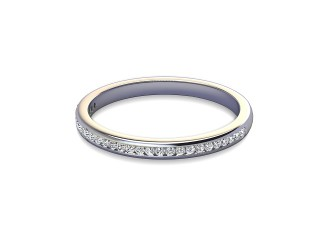 Half-Set Diamond Wedding Ring in 18ct. White Gold: 2.0mm. wide with Round Channel-set Diamonds-W88-05309.20