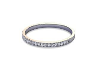 Half-Set Diamond Wedding Ring in 18ct. White Gold: 1.8mm. wide with Round Milgrain-set Diamonds-W88-05310.18