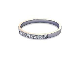 Half-Set Diamond Wedding Ring in 18ct. White Gold: 2.0mm. wide with Round Milgrain-set Diamonds-W88-05310.20