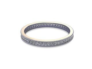 Full-Set Diamond Wedding Ring in 18ct. White Gold: 2.2mm. wide with Round Milgrain-set Diamonds-W88-05335.22