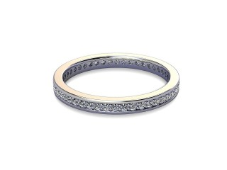 Full-Set Diamond Wedding Ring in 18ct. White Gold: 2.2mm. wide with Round Milgrain-set Diamonds-W88-05349.22
