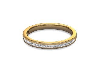 Half-Set Diamond Wedding Ring in 18ct. Yellow Gold: 2.2mm. wide with Princess Channel-set Diamonds-W88-18003.22