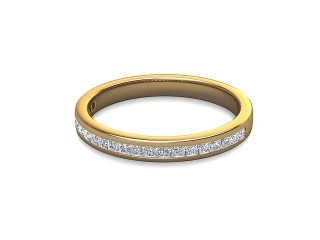 Half-Set Diamond Wedding Ring in 18ct. Yellow Gold: 2.5mm. wide with Princess Channel-set Diamonds-W88-18003.25