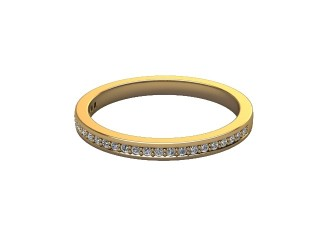 Half-Set Diamond Wedding Ring in 18ct. Yellow Gold: 2.0mm. wide with Round Milgrain-set Diamonds-W88-18007.20