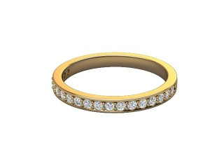Half-Set Diamond Wedding Ring in 18ct. Yellow Gold: 2.2mm. wide with Round Milgrain-set Diamonds-W88-18007.22