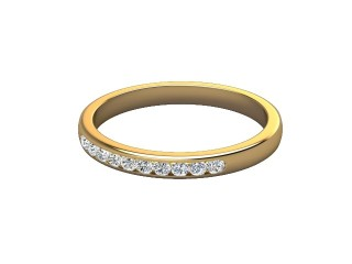 Half-Set Diamond Wedding Ring in 18ct. Yellow Gold: 2.3mm. wide with Round Channel-set Diamonds-w88-18008.23