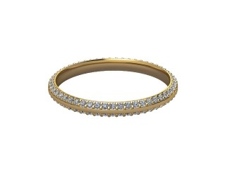 Full-Set Diamond Wedding Ring in 18ct. Yellow Gold: 2.2mm. wide with Round Milgrain-set Diamonds-W88-18042.22