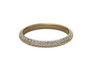 Full-Set Diamond Wedding Ring in 18ct. Yellow Gold: 2.5mm. wide with Round Milgrain-set Diamonds-W88-18042.25