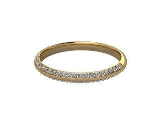 Half-Set Diamond Wedding Ring in 18ct. Yellow Gold: 2.2mm. wide with Round Milgrain-set Diamonds-W88-18043.22