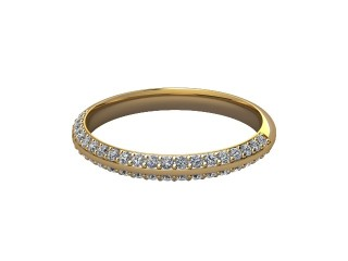 Half-Set Diamond Wedding Ring in 18ct. Yellow Gold: 2.5mm. wide with Round Milgrain-set Diamonds-W88-18043.25
