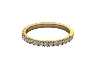 Half-Set Diamond Wedding Ring in 18ct. Yellow Gold: 1.9mm. wide with Round Split Claw Set Diamonds-W88-18045.19