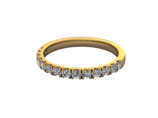 Half-Set Diamond Wedding Ring in 18ct. Yellow Gold: 2.1mm. wide with Round Split Claw Set Diamonds-W88-18045.21
