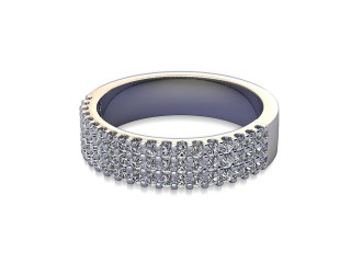 Half-Set Diamond Wedding Ring in Palladium: 4.7mm. wide with Round Shared Claw Set Diamonds-W88-66357.47