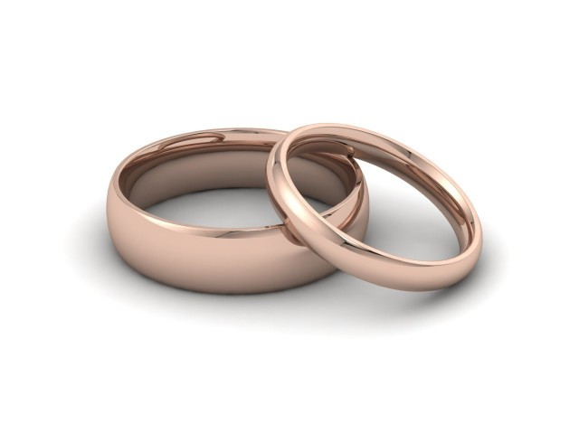 9ct. Rose Gold Plain Polish Wedding Rings