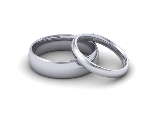 9ct. White Gold Plain Polish Wedding Rings