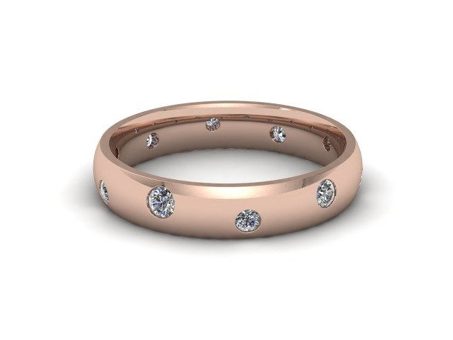 18ct. Rose Gold Diamond Scatter Wedding Rings