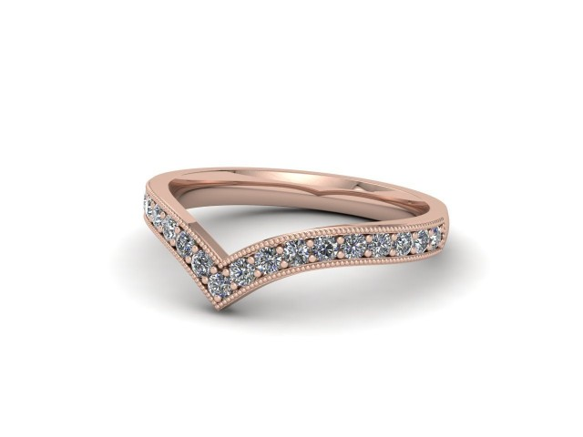 9ct. Rose Gold Diamond Wishbone Wedding Rings