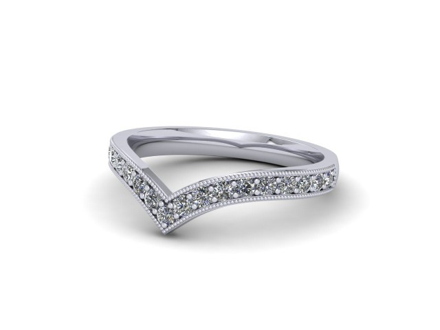 Palladium Diamond Wishbone Wedding Rings