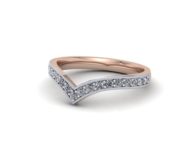 White and Rose Gold Diamond Wishbone Wedding Rings