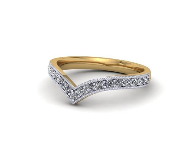 White and Yellow Gold Diamond Wishbone Wedding Rings