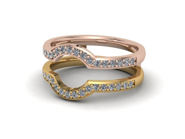 Rose and Yellow Gold Jacket Wedding Rings