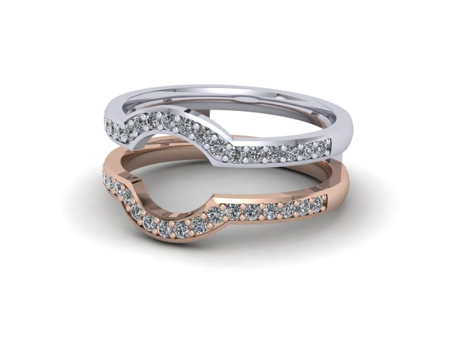 White and Rose Gold Jacket Wedding Rings