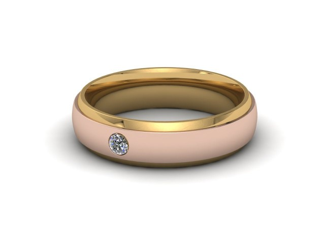 Rose and Yellow Gold Single Diamond Wedding Rings