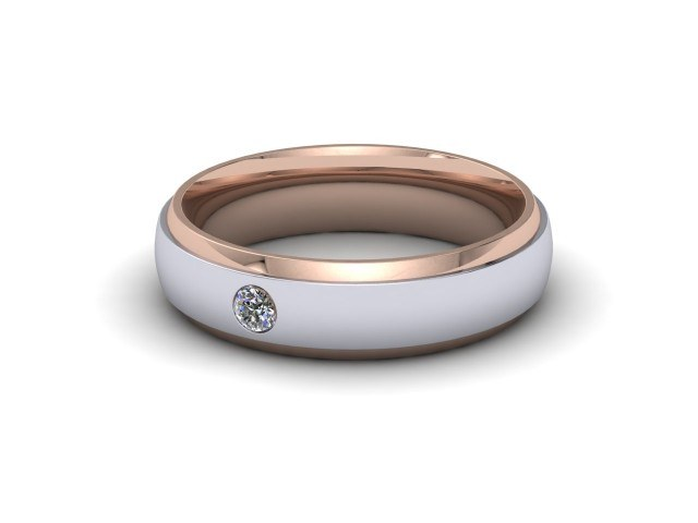 9ct. White and Rose Gold Single Diamond Wedding Rings