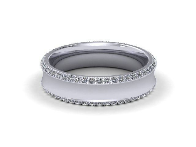 9ct. White Gold Designer Diamond Wedding Rings