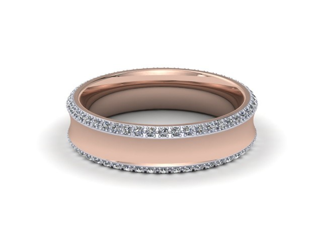 9ct. White and Rose Gold Designer Diamond Wedding Rings