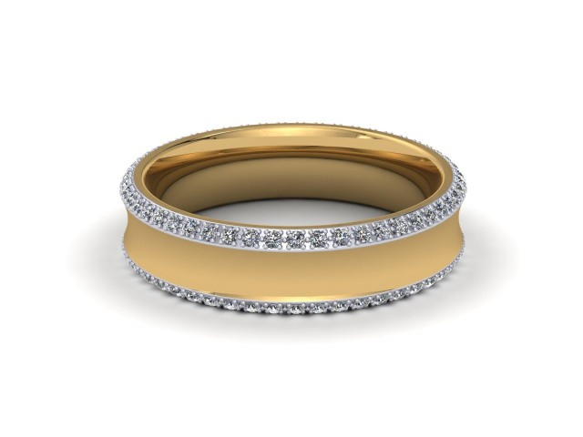 9ct. White and Yellow Gold Designer Diamond Wedding Rings