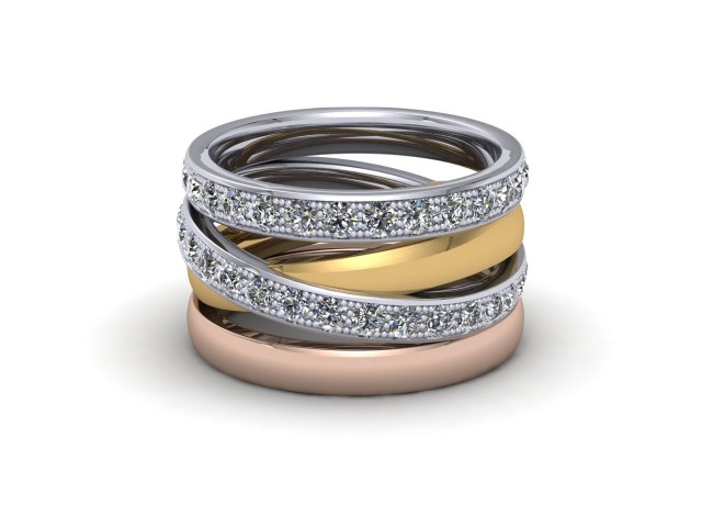 White Yellow and Rose Gold Statement Wedding Rings - Wow!