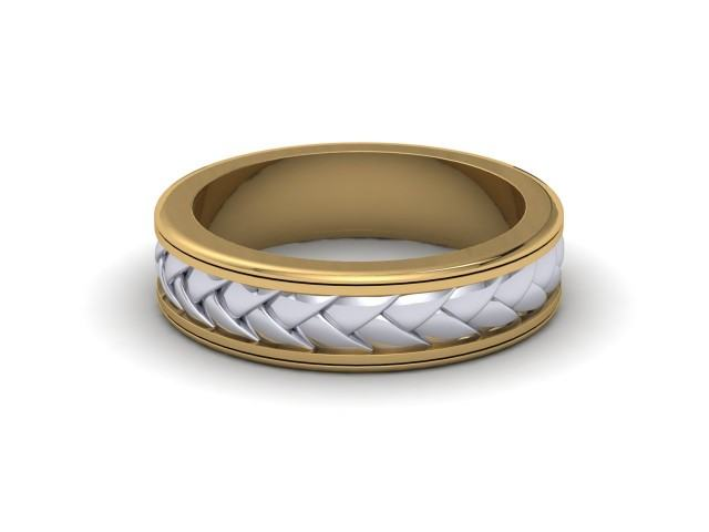 White and Yellow Gold Celtic Design Wedding Rings