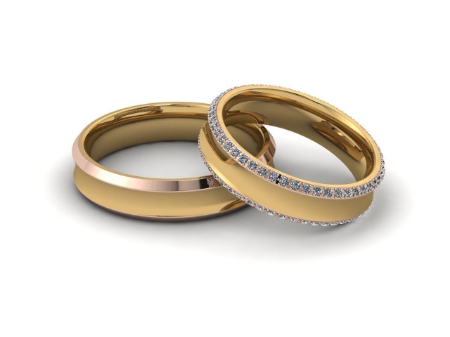 Rose and Yellow Gold Matching Wedding Ring Sets