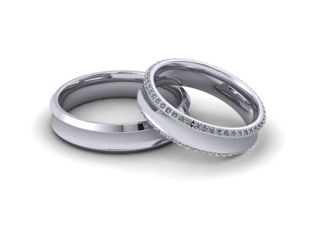 9ct. White Gold Matching Wedding Ring Sets