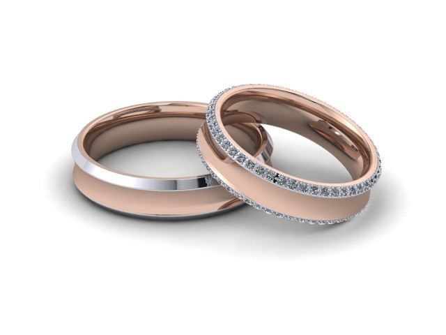 White and Rose Gold Matching Wedding Ring Sets