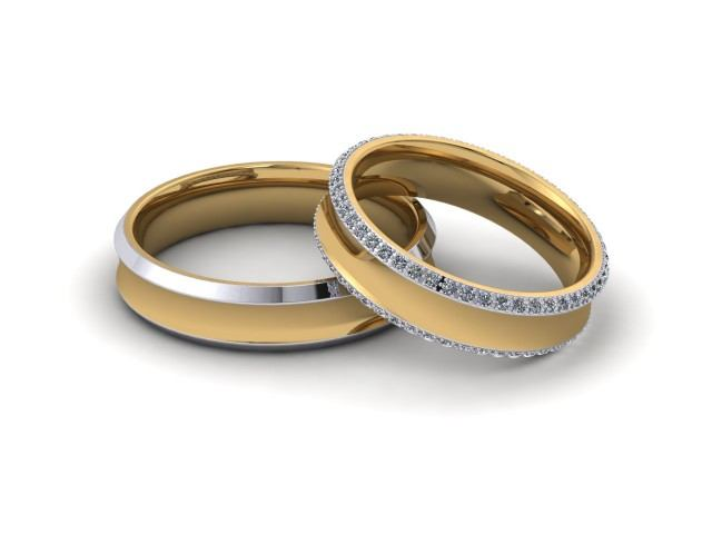 9ct. White and Yellow Gold Matching Wedding Ring Sets