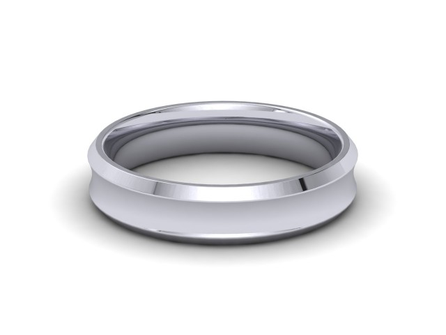 Palladium Bevelled Edge Wedding Rings