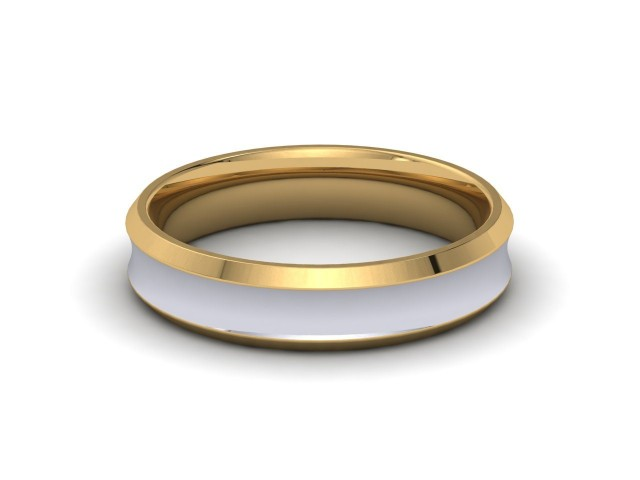9ct. White and Yellow Gold Bevelled Edge Wedding Rings