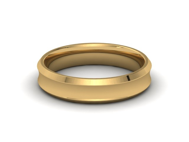 Yellow Gold Bevelled Edge Wedding Rings